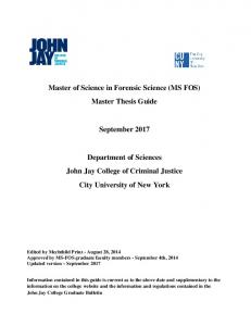 Master of Science in Forensic Science (MS FOS) Master Thesis Guide. September 2017