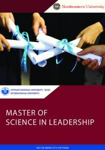 MASTER OF SCIENCE IN LEADERSHIP
