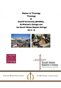 Master of Theology Theology at Cardiff University (SHARE), St Michael s College and the South Wales Baptist College