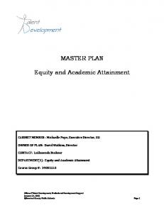 MASTER PLAN. Equity and Academic Attainment