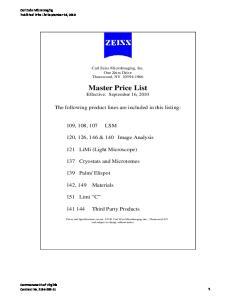 Master Price List Effective: September 16, 2010