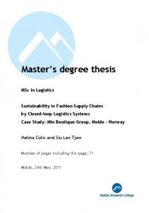 Master s degree thesis