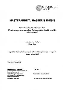 MASTER S THESIS
