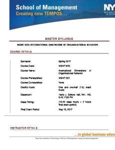 MASTER SYLLABUS MGMT 620: INTERNATIONAL DIMENSIONS OF ORGANIZATIONAL BEHAVIOR