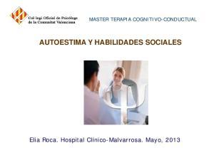 MASTER TERAPIA COGNITIVO-CONDUCTUAL AUTOESTIMA Y HABILIDADES SOCIALES