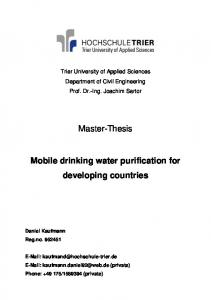 Master-Thesis. Mobile drinking water purification for developing countries