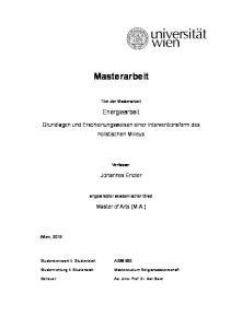 Masterarbeit. Titel der Masterarbeit. Energiearbeit. Grundlagen und Erscheinungsweisen einer Interventionsform des holistischen Milieus