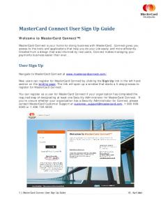 MasterCard Connect User Sign Up Guide
