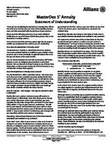 MasterDex 5 Annuity Statement of Understanding