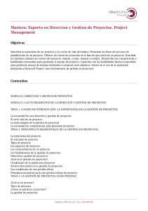 Masters: Experto en Direccion y Gestion de Proyectos. Project Management