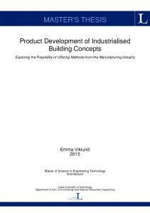 MASTER'S THESIS. Product Development of Industrialised Building Concepts