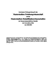 Masterstudium Erziehungswissenschaft. Masterstudium Rehabilitationswissenschaften