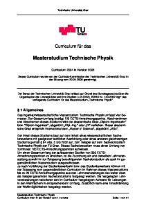 Masterstudium Technische Physik