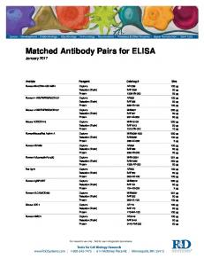 Matched Antibody Pairs for ELISA January 2017