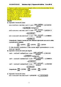 MATEMÁTICAS I Soluciones Hoja 1:Trigonometría Esférica Curso 09-10
