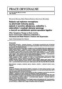 Materiał i metody. Key words: werospiron, hypertension. aldosterone, endothelin 1, renin activity, electrolytes