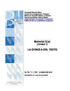 Material 3(a) (Unidad 1) LA CIENCIA DEL TEXTO