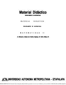 Material Didáctico DEPARTAMENTO DE MATEMATICAS DEPARTAMENTO DE MATEMATICAS
