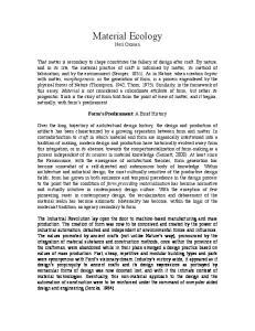 Material Ecology. Neri Oxman