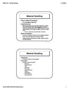 Material Handling. Material Handling