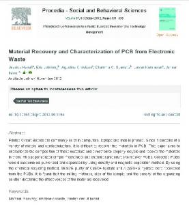 Material Recovery and Characterization of PCB from Electronic Waste