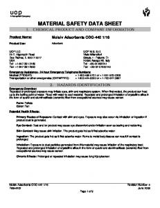 MATERIAL SAFETY DATA SHEET 1. CHEMICAL PRODUCT AND COMPANY INFORMATION