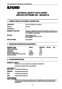MATERIAL SAFETY DATA SHEET ARCHIVA EXTREME INK - MAGENTA