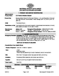 MATERIAL SAFETY DATA SHEET CLR BATH & KITCHEN CLEANER