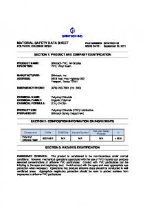 MATERIAL SAFETY DATA SHEET FILE NUMBER: SHINTECH 02 POLYVINYL CHLORIDE RESIN MSDS DATE: September 22, 2011