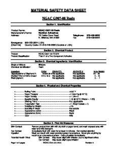 MATERIAL SAFETY DATA SHEET. NGAC G Resin
