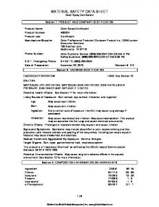 MATERIAL SAFETY DATA SHEET Oster Spray Disinfectant