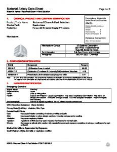 Material Safety Data Sheet Page 1 of 5 Material Name: Returned Clean-A-Part Solution