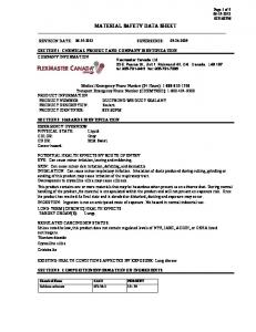 MATERIAL SAFETY DATA SHEET SECTION 1: CHEMICAL PRODUCT AND COMPANY IDENTIFICATION COMPANY INFORMATION
