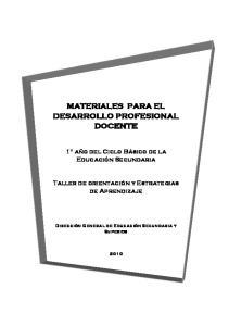 MATERIALES PARA EL DESARROLLO PROFESIONAL DOCENTE