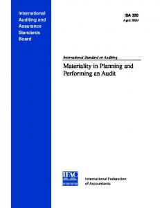 Materiality in Planning and Performing an Audit