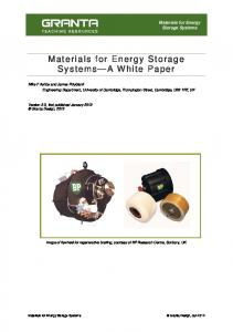 Materials for Energy Storage Systems A White Paper