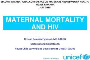 MATERNAL MORTALITY AND HIV