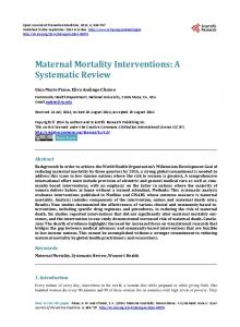 Maternal Mortality Interventions: A Systematic Review