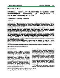 MATERNAL MORTALITY PREDICTORS IN WOMEN WITH HYPERTENSIVE DISORDERS OF PREGNANCY: A RETROSPECTIVE COHORT STUDY