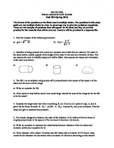 MATH 122A FINAL EXAM STUDY GUIDE (Fall 2015-Spring 2016)