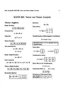 MATH 332: Vector and Tensor Analysis
