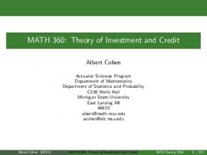 MATH 360: Theory of Investment and Credit