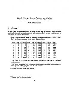 Math Circle: Error Correcting Codes