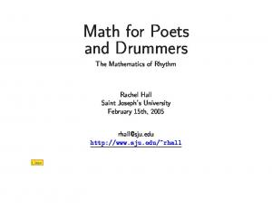 Math for Poets and Drummers The Mathematics of Rhythm