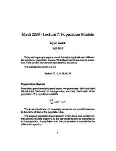 Math Lecture 7: Population Models