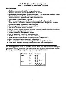 Math Student Notes & Assignments Unit 4 - Exponential & Logarithmic Functions