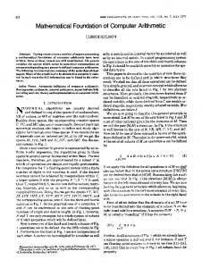 Mathematical Foundation of Computer Arithmetic