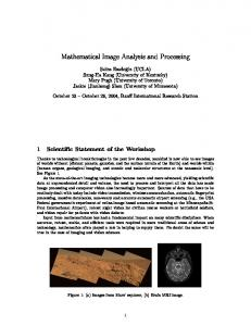 Mathematical Image Analysis and Processing