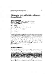 Mathematical Logic and Deduction in Computer Science Education