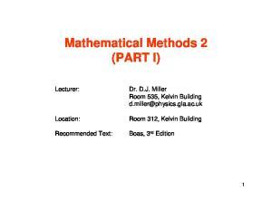 Mathematical Methods 2 (PART I)